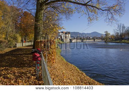 Beautiful Riverside In Bad Tolz, Scenic Autumn Landscape