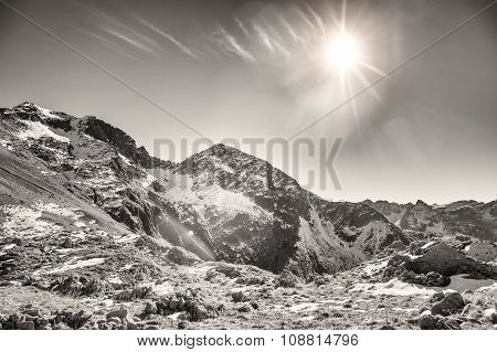 The Last Sun On The Rop Of The Mountain In Italy