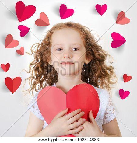 Sweet Girl Holding Red Paper Heart.
