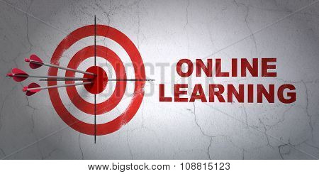 Learning concept: target and Online Learning on wall background