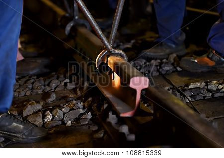 Railroad Maintenance Works In The Night