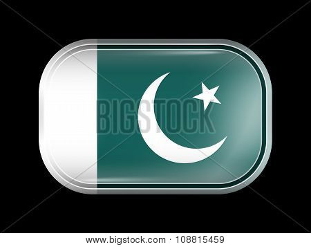 Flag Of Pakistan. Rectangular Shape With Rounded Corners