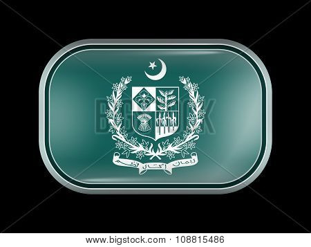 Emblem Of Pakistan. Rectangular Shape With Rounded Corners