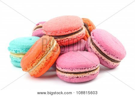 Many Colorful Macaroon On White Background