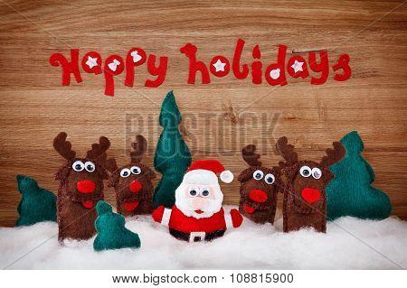 Christmas Deer And Santa Claus Soft Toys Made Of Felt.