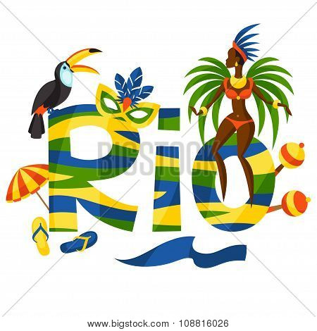 Rio design with objects on white background
