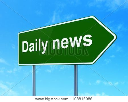 News concept: Daily News on road sign background