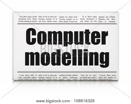 Science concept: newspaper headline Computer Modelling