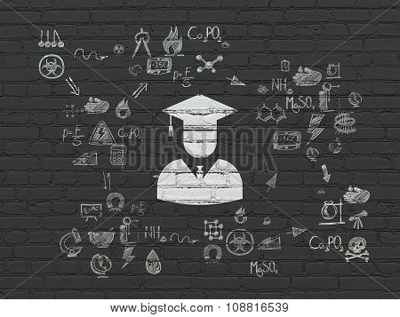 Science concept: Student on wall background