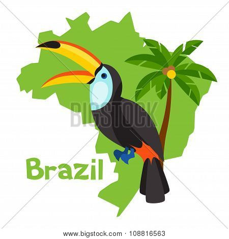 Stylized map of Brazil with toucan and palm tree