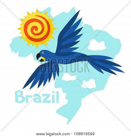 Stylized map of Brazil with sun and macaw parrot