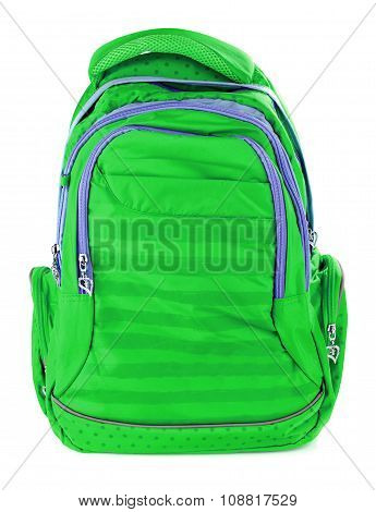 green school backpack isolated