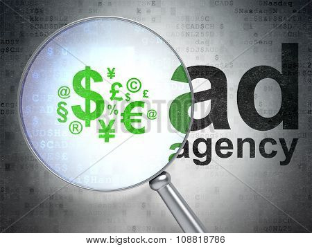 Advertising concept: Finance Symbol and Ad Agency with optical glass