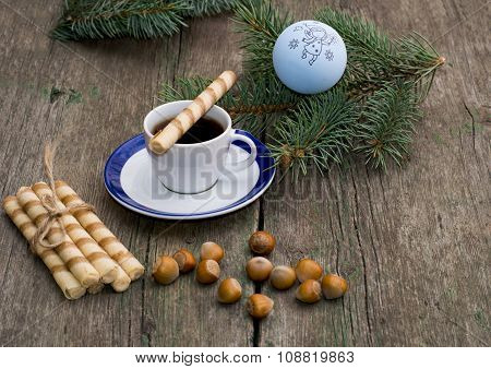 Coniferous Branch, Coffee, Linking Of Cookies And Nutlets
