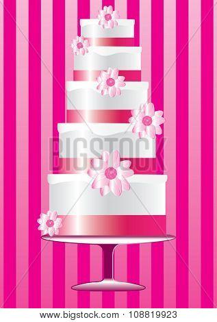 Pink wedding floral cake