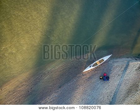 aerial view of expedition decked canoe on a sandbar, South Platte River in eastern Colorado