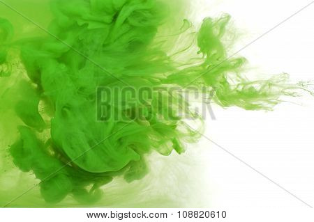 Abstract Background Of Green Acrylic Paint In Water..