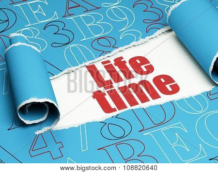 Timeline concept: red text Life Time under the piece of  torn paper