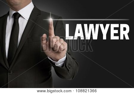 Lawyer Touchscreen Is Operated By Businessman Concept