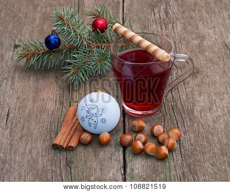 Coniferous Branch, Tea, Cinnamon And Nutlets, Still Life