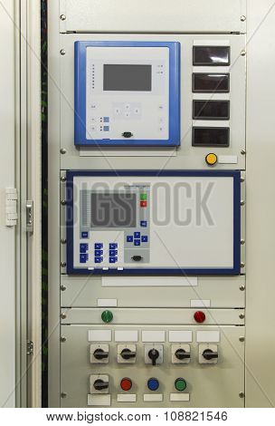 Electrical control panel with electronic devices in modern electrical substation