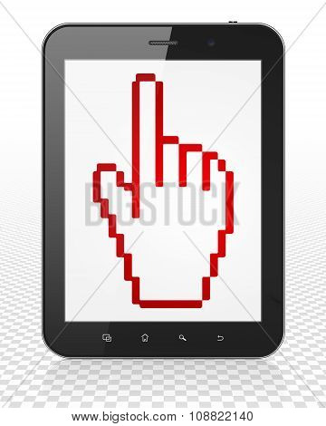 Web design concept: Tablet Pc Computer with Mouse Cursor on display