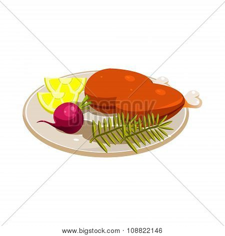 Turkey Ham with Vegetables and Apples on a Dish. Vector Illustartion