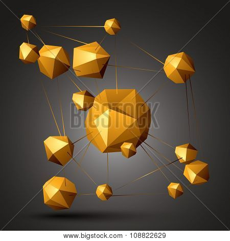 3D Vector Abstract Technology Illustration, Perspective Geometric Unusual Object. Origami Colorful T