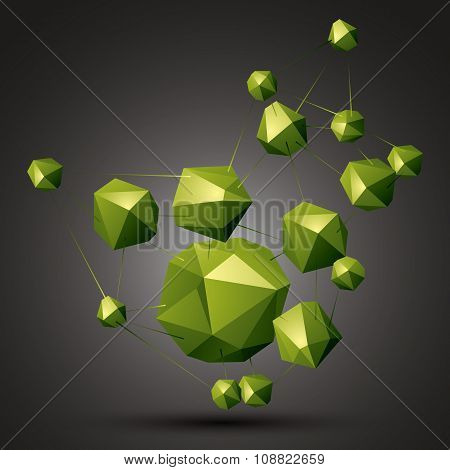 Geometric Abstract 3D Complicated Object, Bright Asymmetric Three-dimensional Elements Connected.