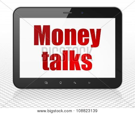 Finance concept: Tablet Pc Computer with Money Talks on display