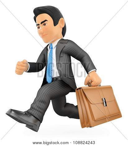 3D Businessman Running With His Briefcase