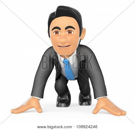 3D Businessman Ready At The Start Of A Race