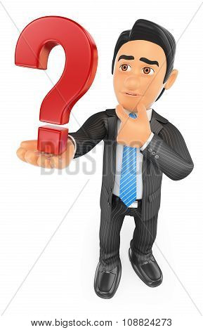 3D Businessman Doubtful With A Question Mark