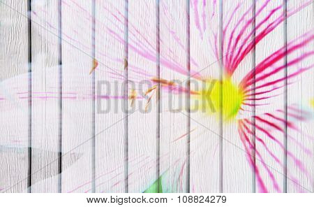 Double Exposure Of Flower And Wooden Background