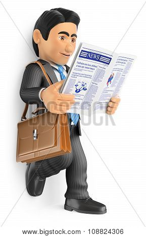 3D Businessman Reading The Latest News In The Newspaper