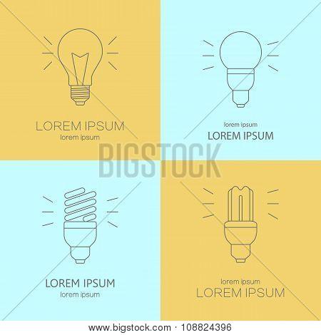 Modern line style vector logo collection with light bulbs