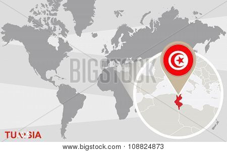 World Map With Magnified Tunisia