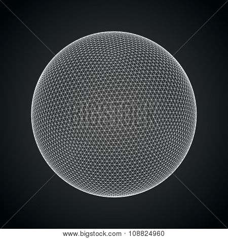 3D sphere with global line connections