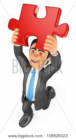 3D Businessman Putting A Red Puzzle Piece. Solution