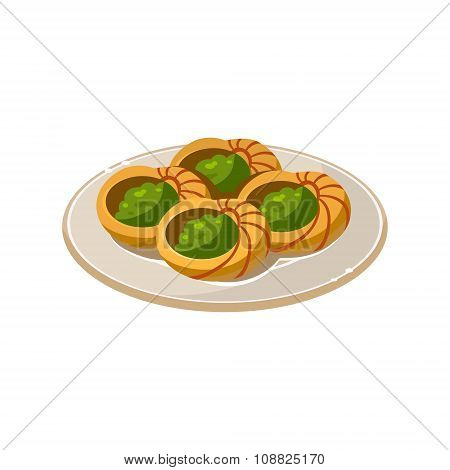 French Snail Dish. Vector Illustration