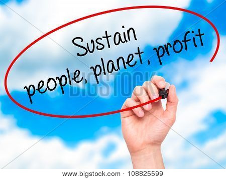 Man Hand writing Sustain, people, planet, profit with marker on visual screen.