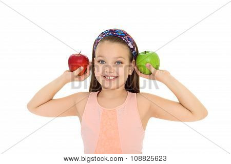 Girl with Apple in hands