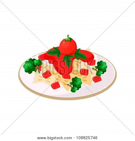 Pasta with Tomatoes. Vector Illustration