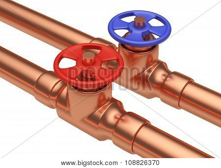 Red And Blue Valves On Copper Pipes, Diagonal View