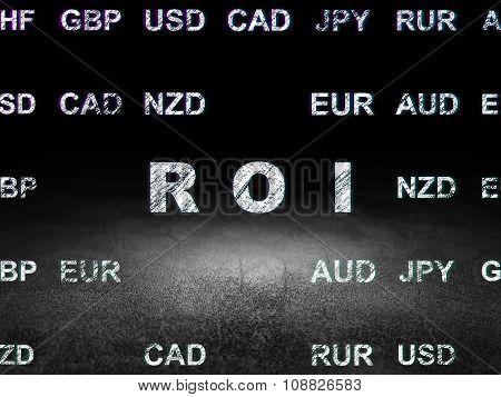 Finance concept: ROI in grunge dark room
