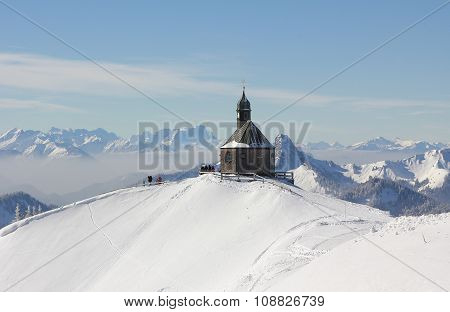 Mountain Peak Wallberg With Chapel In Winter