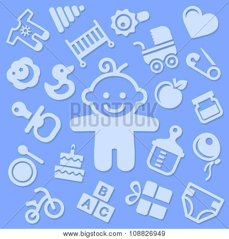 Baby Blue Background with Boy. Vector