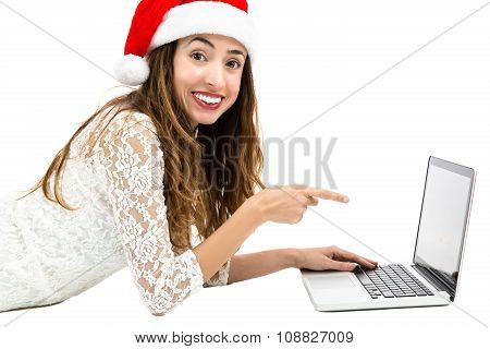 Christmas Woman Pointing To Laptop