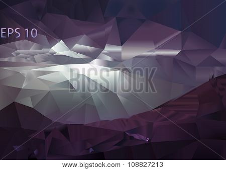 Vector polygonal mountain background. Triangular landscape abstract design in pink and purple colors