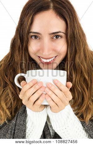 Winter Woman Drinking Warm Tea